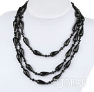 Long style round and drop shape black agate necklace