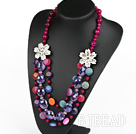 Multi Layer Pink Agate and Colorful Crystal Necklace under $100