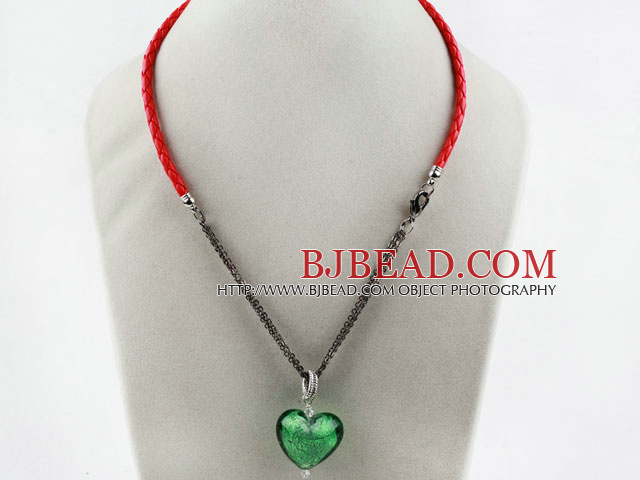 New Design Heart Shape Green Colored Glaze Pendant with Red Cord