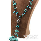 Assorted Turquoise Y Shape Necklace with Black Glass Beads