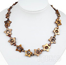 17.3 inches star shape shell with brown pearls necklace(heart toggle clasp)