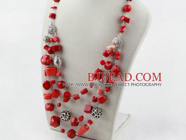 5adc53426b2b Surtido de Multi Layer collar de coral rojo con bisutería
