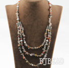 Three layer multi color rutilated quartz and white pearl necklace