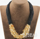 Bold style multi strand citrine necklace under $ 40