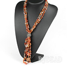 Y shape three strand fillet agate chip necklace