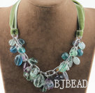 Single strand rainbow fluorite necklace with green ribbon under $ 40