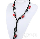 Long style Y shape black freshwater pearl and red coral necklace with black thread under $ 40