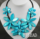 Lake Blue Color Freshwater Pearl and Shell Flower Necklace with Leather Cord
