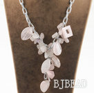 Y shape assorted multi shape rose quartz necklace with bold metal chain