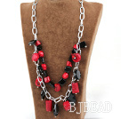 Double layer red coral and black agate necklace with metal chain under $ 40