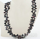 Classic Design Two Strands Top Drilled Black FW Pearl Necklace