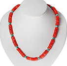 Disc Shape Red Coral en Turquoise Ketting