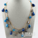 Double strand assorted multi shape blue agate necklace with golden color chain