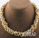 Multi strand champagne color freshwater pearl twisted necklace with magnetic clasp