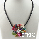 Single Piece Multi Color Pearl Shell Flower Necklace under $ 40