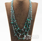 Three strand greena gate and blue tourmaline necklace with lobster clasp