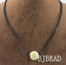 Simple style round shape lemon jade pendant necklace with black thread under $ 40