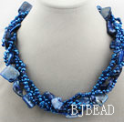 Multi Strands Dark Blue Freshwater Pearl and Dark Blue Shell Bubble Necklace