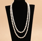 Graceful Long Style Double Strand 7-8mm Rice Shape Natural White Freshwater Pearl Necklace (Sweater Chain)