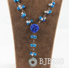Y shape blue agate and white crystal and blue acrylic flower necklace