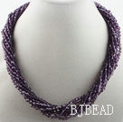 17.7 inches multi strand dark purple crystal necklace with magnetic clasp