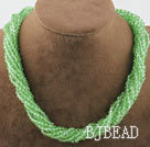 17.7 inches multi strand light green crystal necklace with magnetic clasp