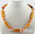 Single strand orangle yellow color bucket shape agate necklace