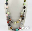 Two layer assorted multi color multi stone and crystal necklace under $30