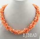 Multi Strands Orange Coral Branch Necklace with Magnetic Clasp