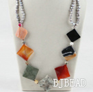 chunky style gray pearl multi color stone necklace