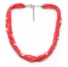 multi strand white pearl coral necklace with extendable chain