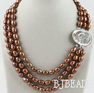 three strand brown pearl necklace with beauty clasp