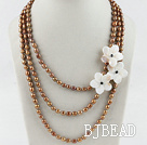 multi strand brown pearl white shell flower necklace