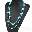 51.2 inches blue pearl crystal and colored glaze necklace