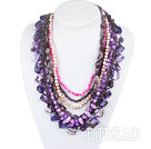 Purple Series Multi Strands Purple Freshwater Pearl Crystal and Amethyst and Purple Shell Necklace