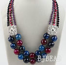Multi Strand Pearl Crystal and Multi Color Agate Necklace