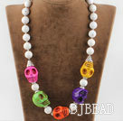 Single Strand Multi Color Skull Turquoise Halloween Necklace