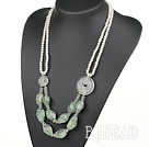 White Pearl and Natural White Crystal and Green Rutilated Quartz Necklace