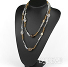 Long Style Crystal and Gray Agate Necklace