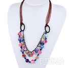 Multi Color Burst Pattern Agate Necklace
