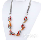 Pearl Crystal and Agate Flower Necklace with Gray Ribbon under $18