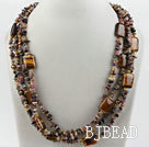 Multi Strand Pearl and Tourmaline and Tiger Eye Necklace under $30