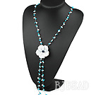 6-8mm turquoise and shell flower necklace with lobster clasp