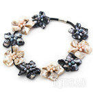 New Design Black and White Shell Flower Necklace under $ 40