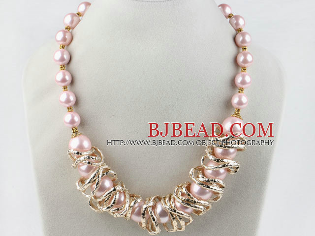 New Design 1216mm Pink Seashell Beads Necklace with Magnetic