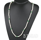 Long Style White Freshwater Pearl and Aventurine Beaded Necklace
