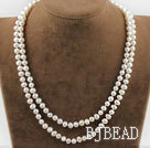 Two Strands Natural White Freshwater Pearl Bridal Necklace