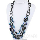 Three Layer Lapis and Crystal Necklace under $30