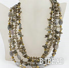 Multi Strand Pearl Crystal and Flashing Stone Necklace