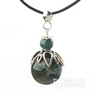 Classic Design Indian Agate Pendant Necklace with Adjustable Chain